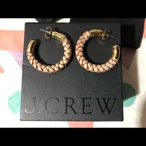 J Crew Braided Leather Earrings